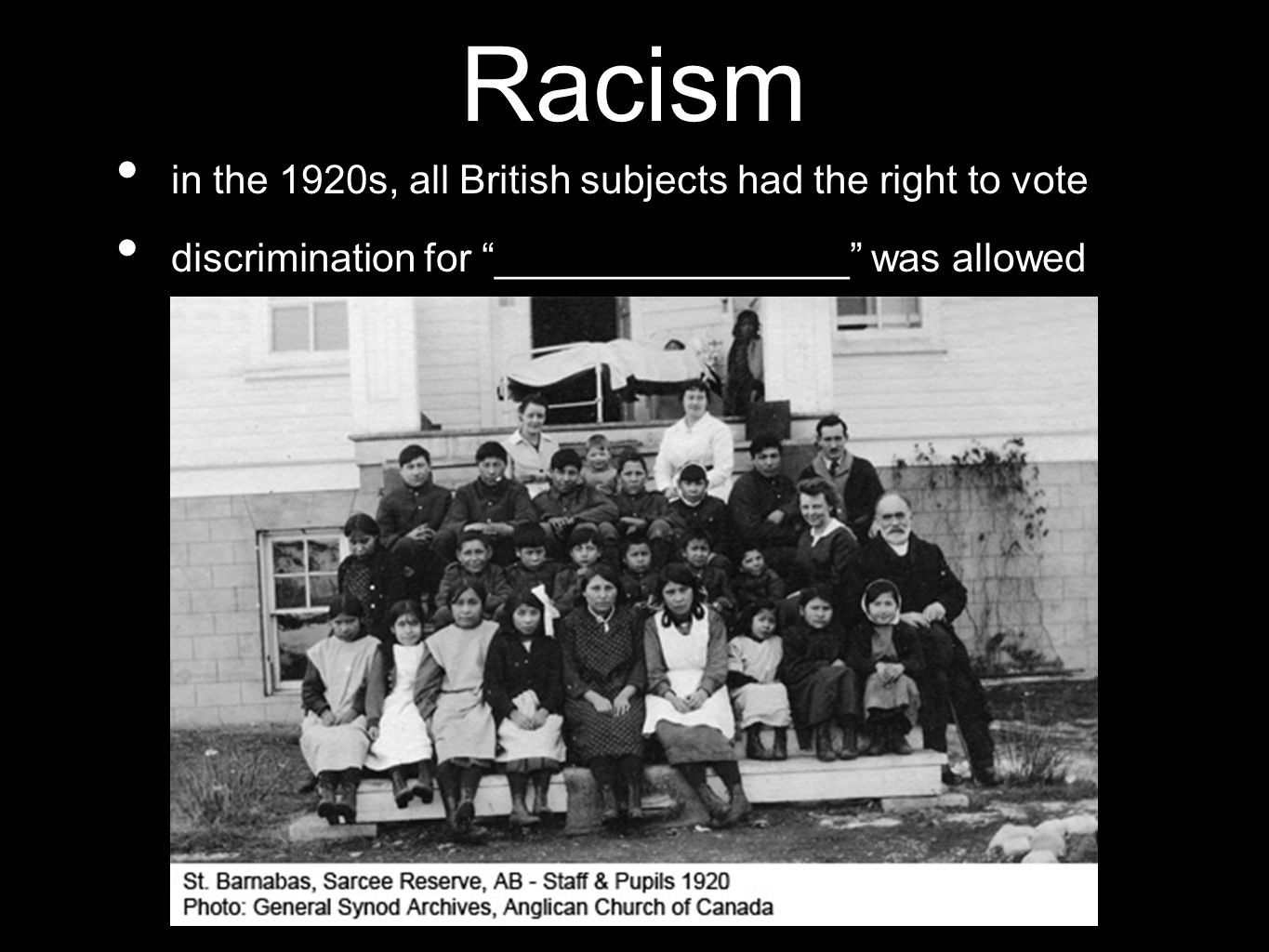 "Racism in the 1920s, all British subjects had the right to vote discrimination for ""________________"" was allowed"