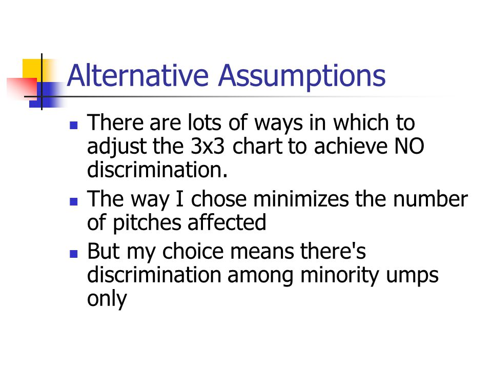Alternative Assumptions There are lots of ways in which to adjust the 3x3 chart to achieve NO discrimination. The way I chose minimizes the number of
