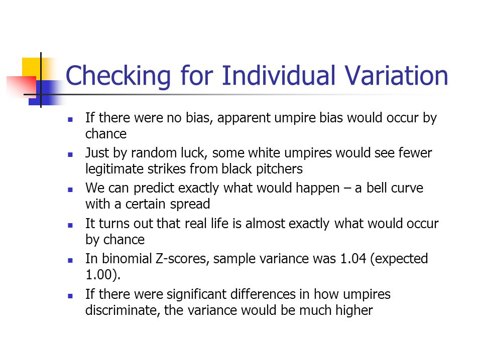 Checking for Individual Variation If there were no bias, apparent umpire bias would occur by chance Just by random luck, some white umpires would see