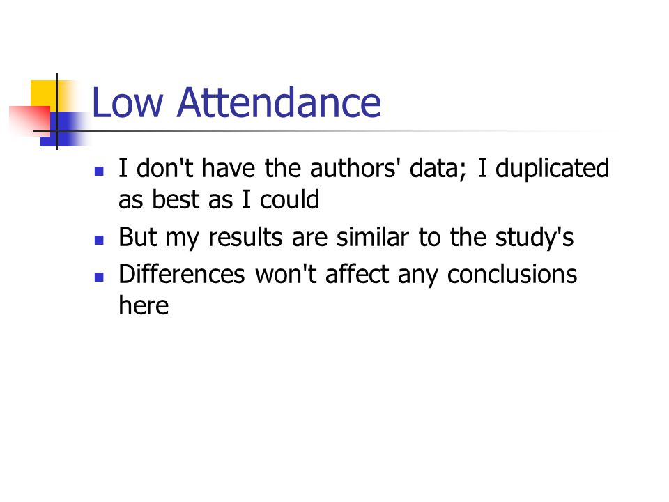 Low Attendance I don't have the authors' data; I duplicated as best as I could But my results are similar to the study's Differences won't affect any