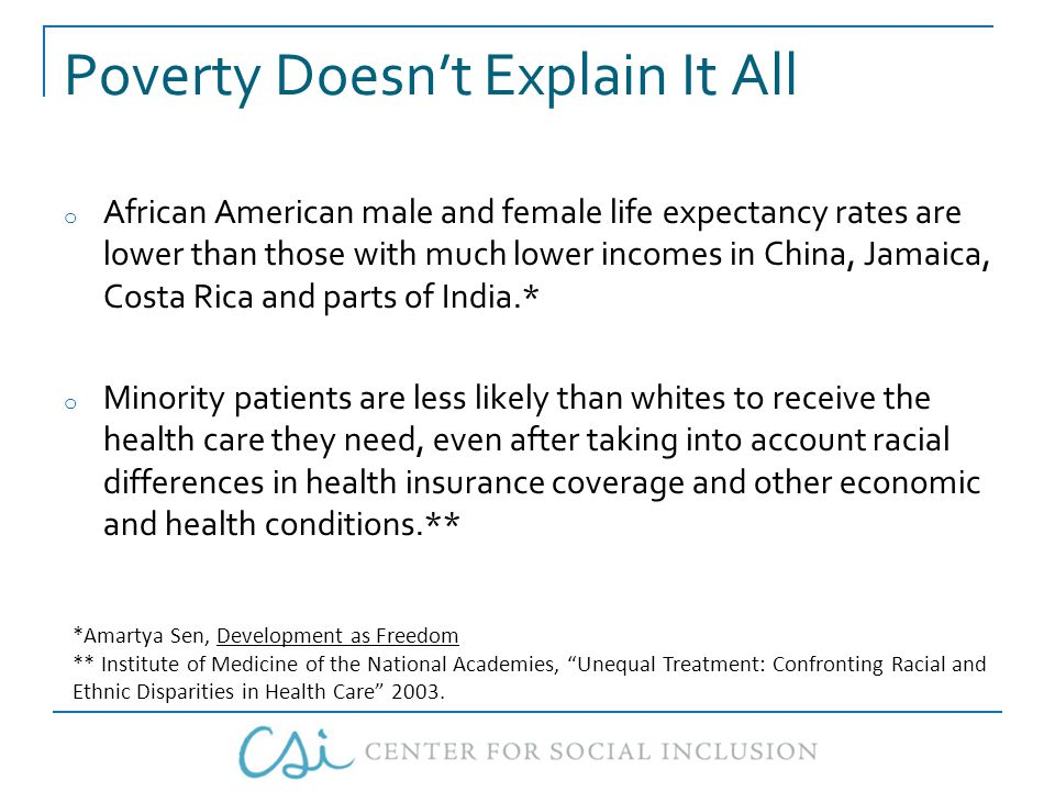 Poverty Doesn't Explain It All o African American male and female life expectancy rates are lower than those with much lower incomes in China, Jamaica, Costa Rica and parts of India.* o Minority patients are less likely than whites to receive the health care they need, even after taking into account racial differences in health insurance coverage and other economic and health conditions.** *Amartya Sen, Development as Freedom ** Institute of Medicine of the National Academies, Unequal Treatment: Confronting Racial and Ethnic Disparities in Health Care 2003.