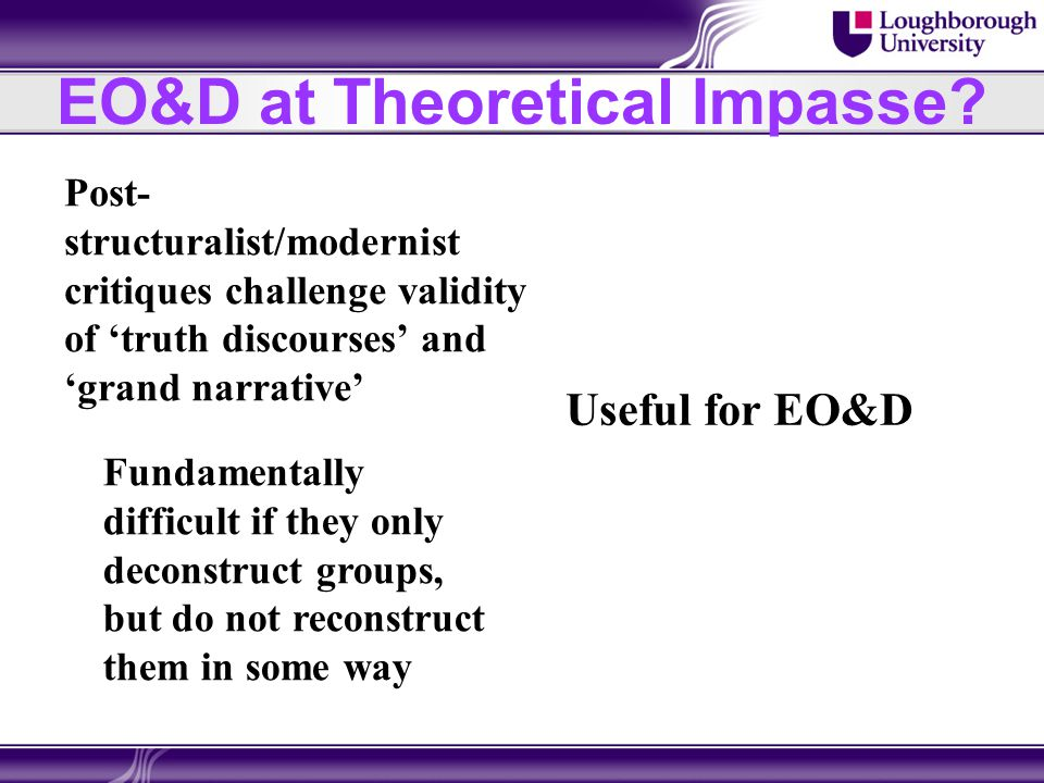 EO&D at Theoretical Impasse? Post- structuralist/modernist critiques challenge validity of 'truth discourses' and 'grand narrative' Useful for EO&D Fu