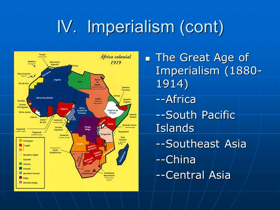 IV. Imperialism (cont) The Great Age of Imperialism (1880- 1914) The Great Age of Imperialism (1880- 1914)--Africa --South Pacific Islands --Southeast