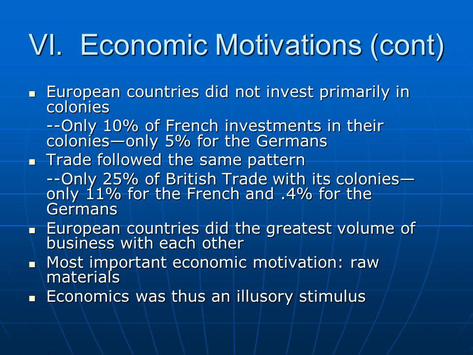 VI. Economic Motivations (cont) European countries did not invest primarily in colonies European countries did not invest primarily in colonies --Only