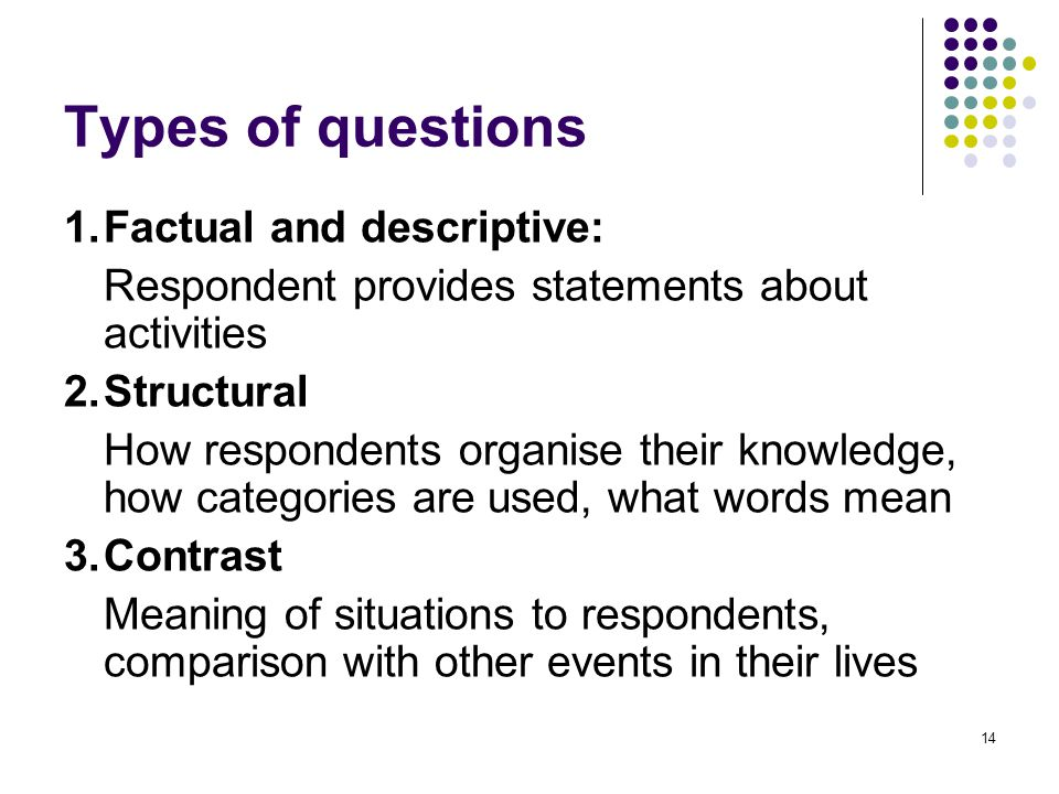 15 Types of questions cont.