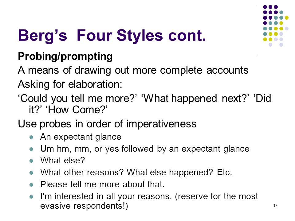 17 Berg's Four Styles cont.