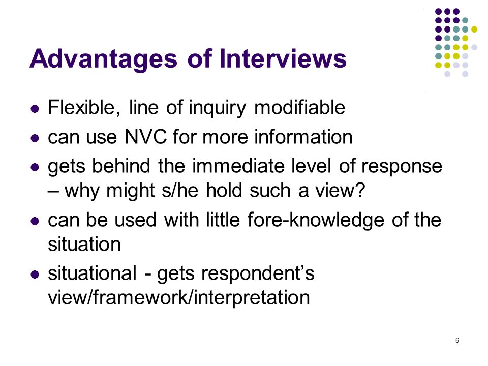 6 Advantages of Interviews Flexible, line of inquiry modifiable can use NVC for more information gets behind the immediate level of response – why might s/he hold such a view.