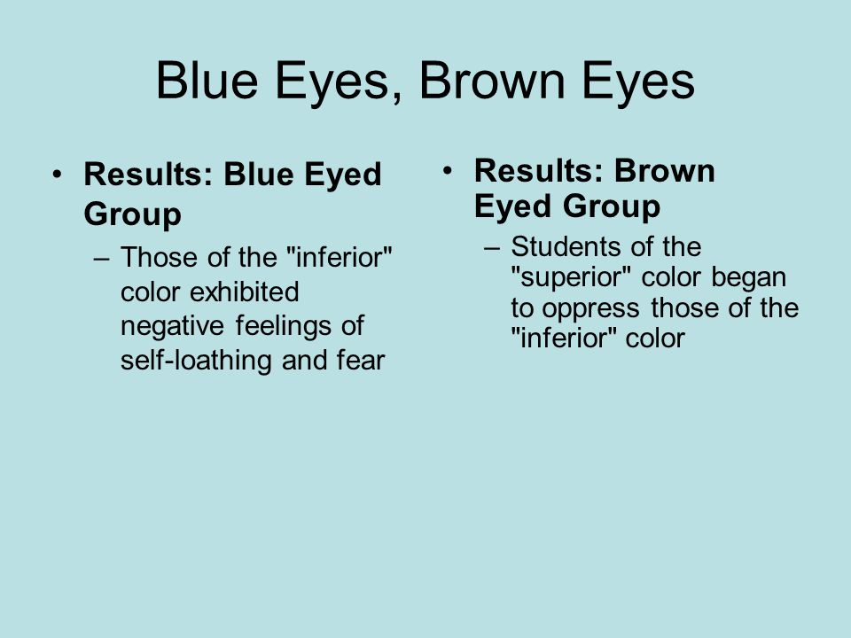 Blue Eyes, Brown Eyes Results: Blue Eyed Group –Those of the