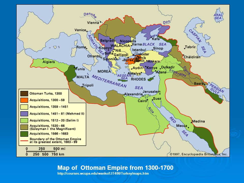 Map of Ottoman Empire from 1300-1700 http://courses.wcupa.edu/wanko/LIT400/Turkey/maps.htm