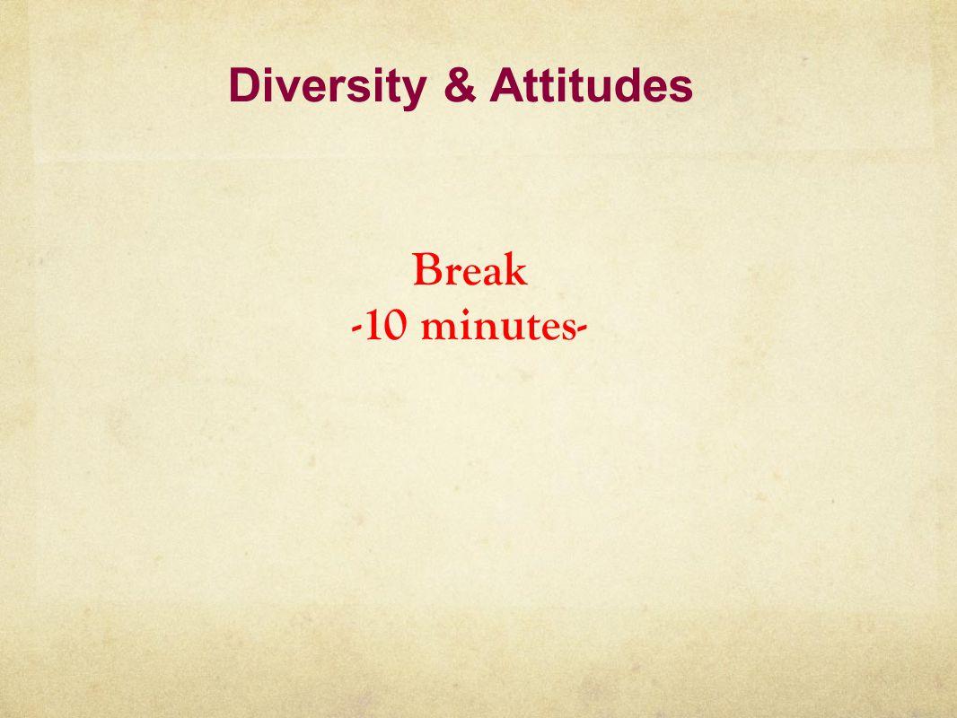 Diversity & Attitudes Break -10 minutes-