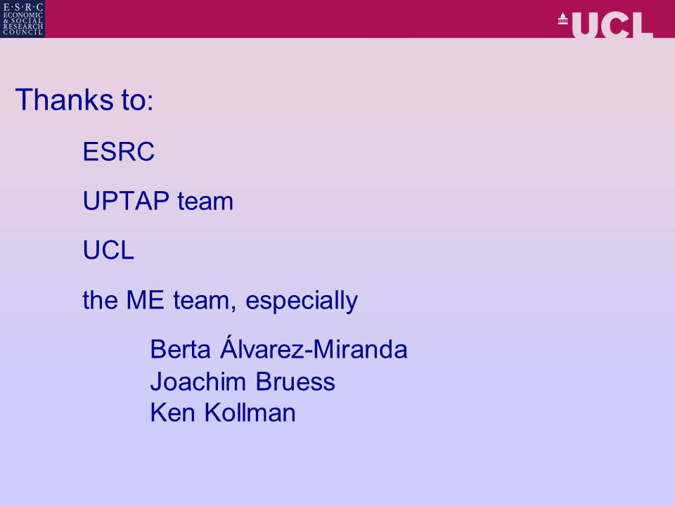 Thanks to : ESRC UPTAP team UCL the ME team, especially Berta Álvarez-Miranda Joachim Bruess Ken Kollman