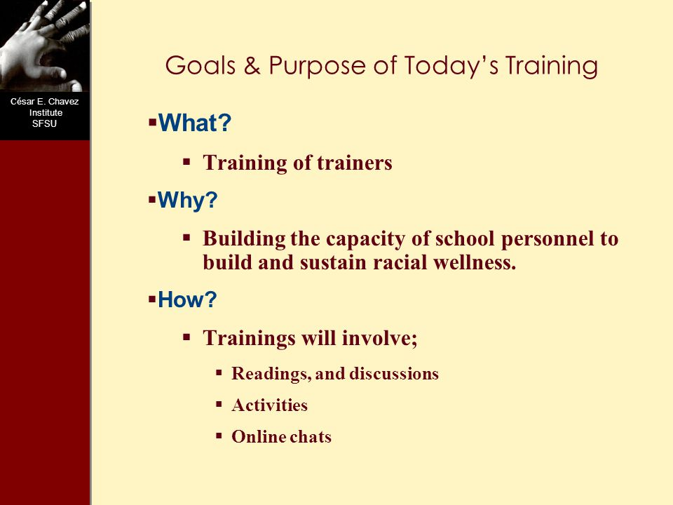 C ésar E. Chavez Institute SFSU Goals & Purpose of Today's Training  What.