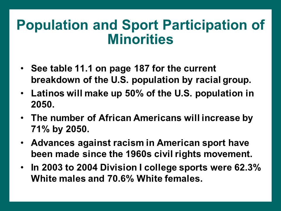Population and Sport Participation of Minorities See table 11.1 on page 187 for the current breakdown of the U.S. population by racial group. Latinos