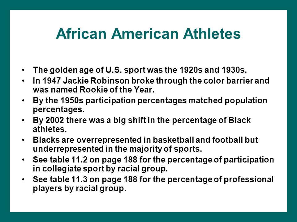 African American Athletes The golden age of U.S. sport was the 1920s and 1930s. In 1947 Jackie Robinson broke through the color barrier and was named