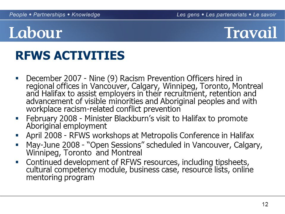 12 RFWS ACTIVITIES  December Nine (9) Racism Prevention Officers hired in regional offices in Vancouver, Calgary, Winnipeg, Toronto, Montreal and Halifax to assist employers in their recruitment, retention and advancement of visible minorities and Aboriginal peoples and with workplace racism-related conflict prevention  February Minister Blackburn's visit to Halifax to promote Aboriginal employment  April RFWS workshops at Metropolis Conference in Halifax  May-June Open Sessions scheduled in Vancouver, Calgary, Winnipeg, Toronto and Montreal  Continued development of RFWS resources, including tipsheets, cultural competency module, business case, resource lists, online mentoring program