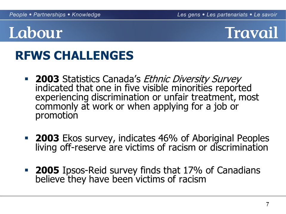 7 RFWS CHALLENGES  2003 Statistics Canada's Ethnic Diversity Survey indicated that one in five visible minorities reported experiencing discrimination or unfair treatment, most commonly at work or when applying for a job or promotion  2003 Ekos survey, indicates 46% of Aboriginal Peoples living off-reserve are victims of racism or discrimination  2005 Ipsos-Reid survey finds that 17% of Canadians believe they have been victims of racism