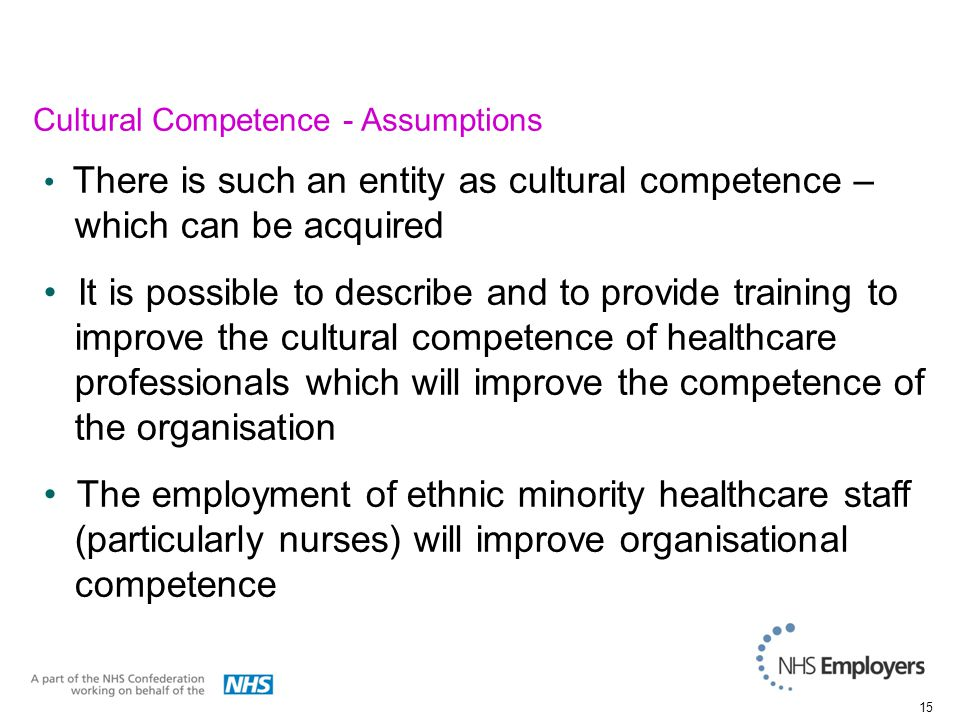 15 There is such an entity as cultural competence – which can be acquired It is possible to describe and to provide training to improve the cultural competence of healthcare professionals which will improve the competence of the organisation The employment of ethnic minority healthcare staff (particularly nurses) will improve organisational competence Cultural Competence - Assumptions