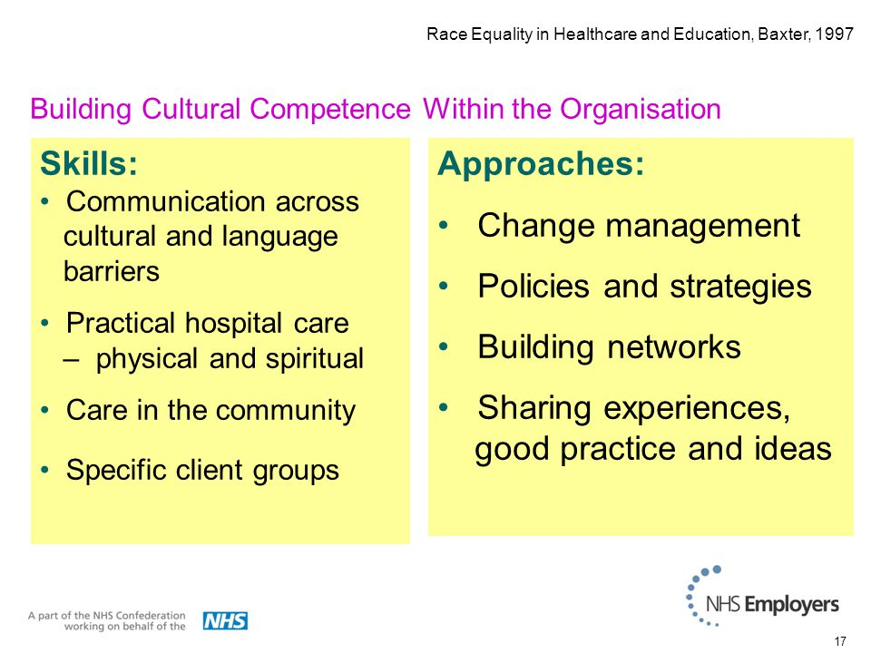 17 Skills: Communication across cultural and language barriers Practical hospital care – physical and spiritual Care in the community Specific client groups Approaches: Change management Policies and strategies Building networks Sharing experiences, good practice and ideas Building Cultural Competence Within the Organisation Race Equality in Healthcare and Education, Baxter, 1997