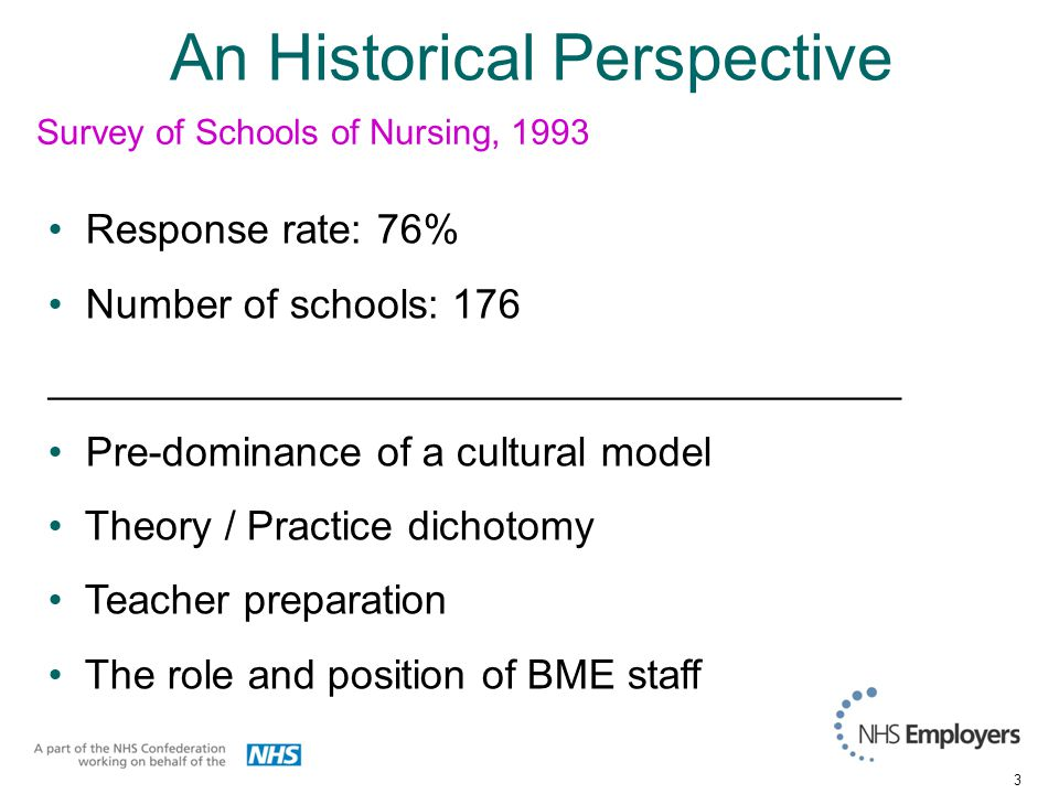 3 An Historical Perspective Response rate: 76% Number of schools: 176 _____________________________________ Pre-dominance of a cultural model Theory / Practice dichotomy Teacher preparation The role and position of BME staff Survey of Schools of Nursing, 1993