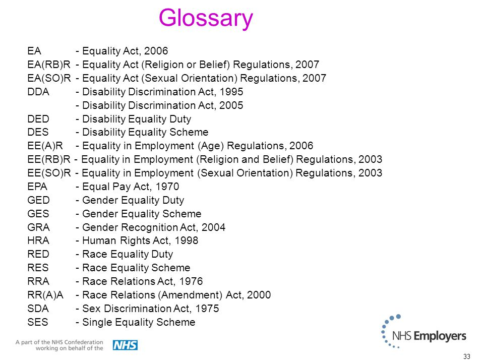33 Glossary EA - Equality Act, 2006 EA(RB)R- Equality Act (Religion or Belief) Regulations, 2007 EA(SO)R- Equality Act (Sexual Orientation) Regulations, 2007 DDA- Disability Discrimination Act, 1995 - Disability Discrimination Act, 2005 DED- Disability Equality Duty DES- Disability Equality Scheme EE(A)R - Equality in Employment (Age) Regulations, 2006 EE(RB)R - Equality in Employment (Religion and Belief) Regulations, 2003 EE(SO)R - Equality in Employment (Sexual Orientation) Regulations, 2003 EPA - Equal Pay Act, 1970 GED- Gender Equality Duty GES- Gender Equality Scheme GRA- Gender Recognition Act, 2004 HRA - Human Rights Act, 1998 RED- Race Equality Duty RES- Race Equality Scheme RRA - Race Relations Act, 1976 RR(A)A - Race Relations (Amendment) Act, 2000 SDA- Sex Discrimination Act, 1975 SES- Single Equality Scheme