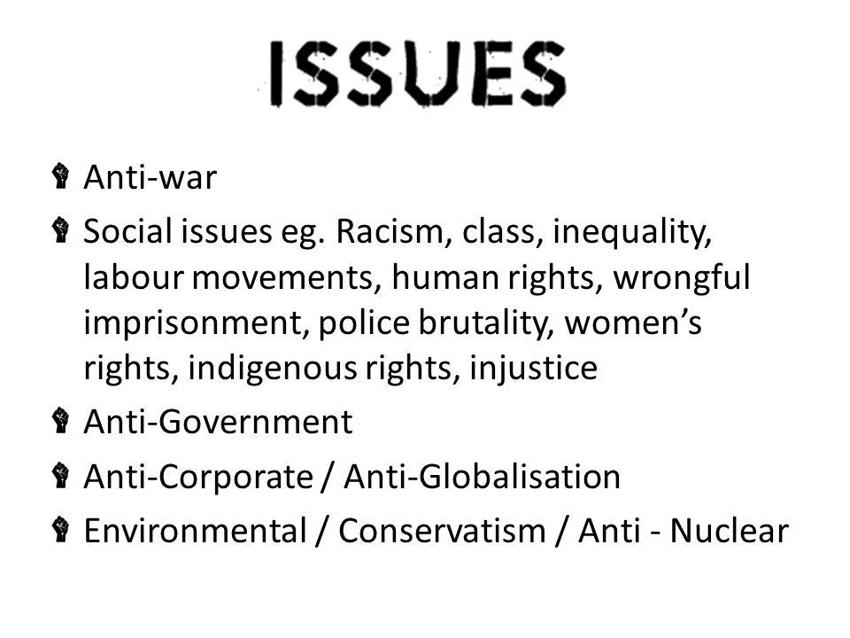 Anti-war Social issues eg.