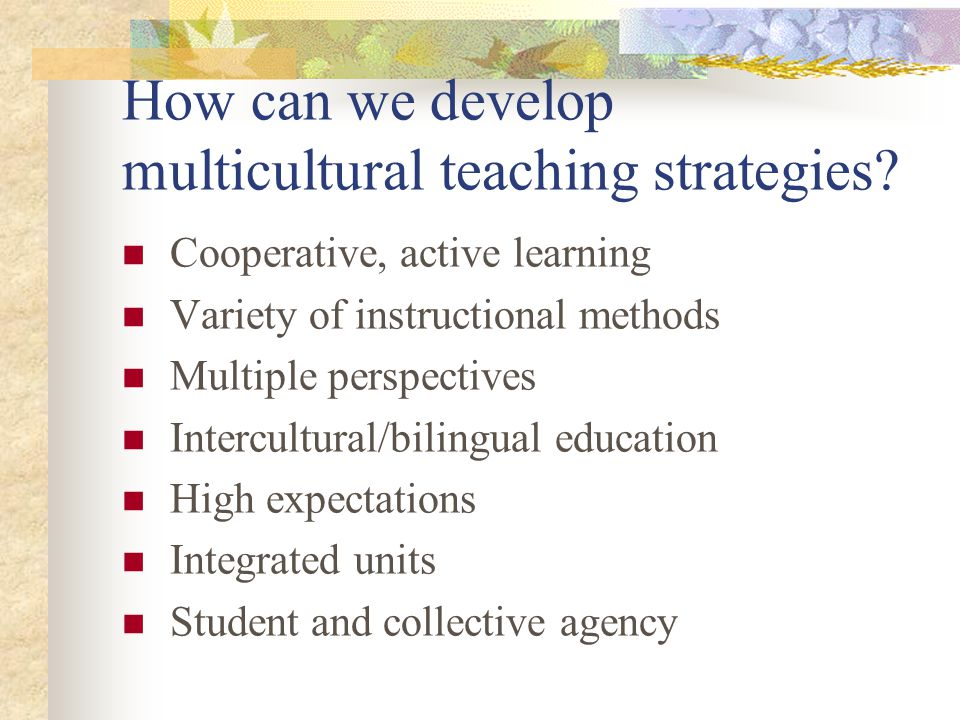 How can we develop multicultural teaching strategies? Cooperative, active learning Variety of instructional methods Multiple perspectives Intercultura