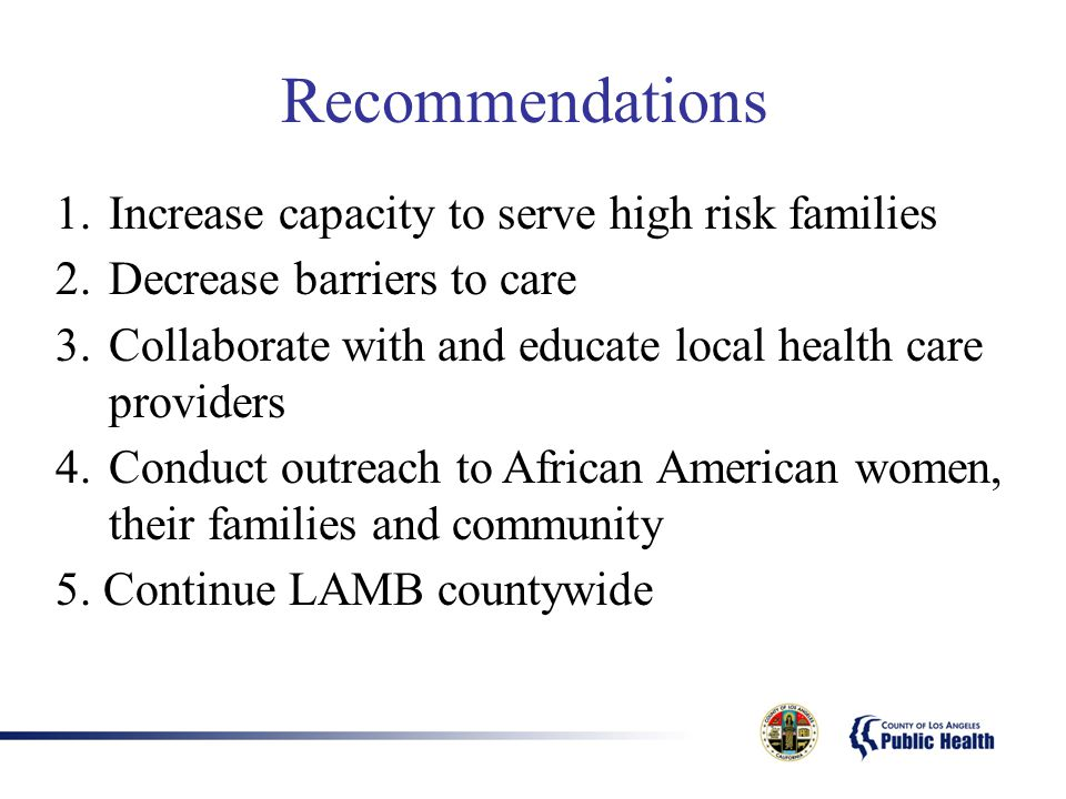 Recommendations 1.Increase capacity to serve high risk families 2.Decrease barriers to care 3.Collaborate with and educate local health care providers