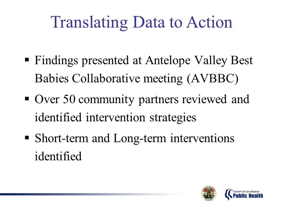  Findings presented at Antelope Valley Best Babies Collaborative meeting (AVBBC)  Over 50 community partners reviewed and identified intervention st