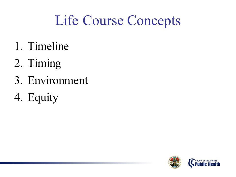 Life Course Concepts 1.Timeline 2.Timing 3.Environment 4.Equity