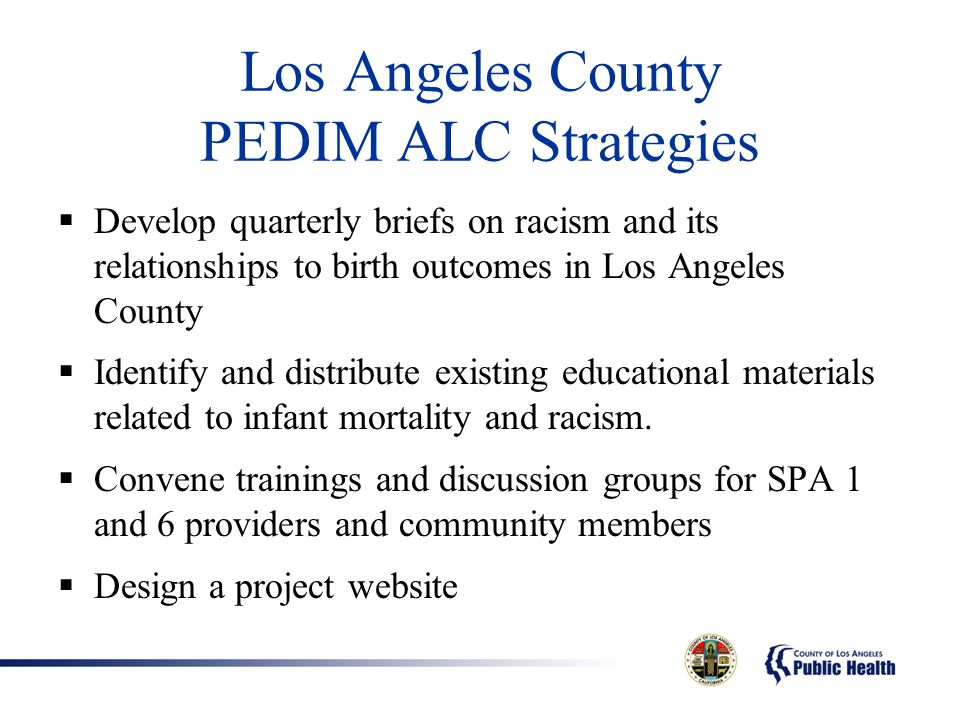 Los Angeles County PEDIM ALC Strategies  Develop quarterly briefs on racism and its relationships to birth outcomes in Los Angeles County  Identify