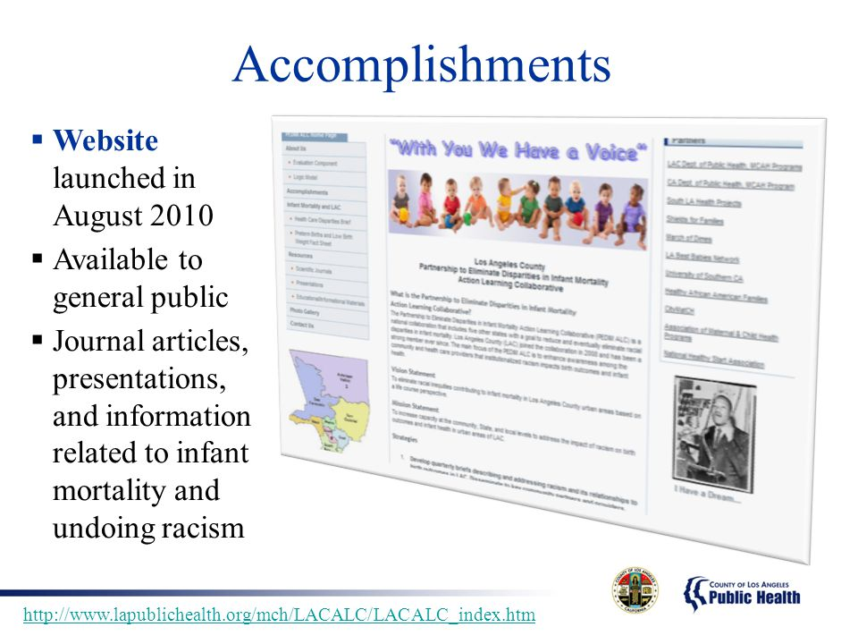 Accomplishments  Website launched in August 2010  Available to general public  Journal articles, presentations, and information related to infant m
