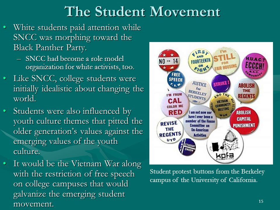 15 The Student Movement White students paid attention while SNCC was morphing toward the Black Panther Party.White students paid attention while SNCC was morphing toward the Black Panther Party.