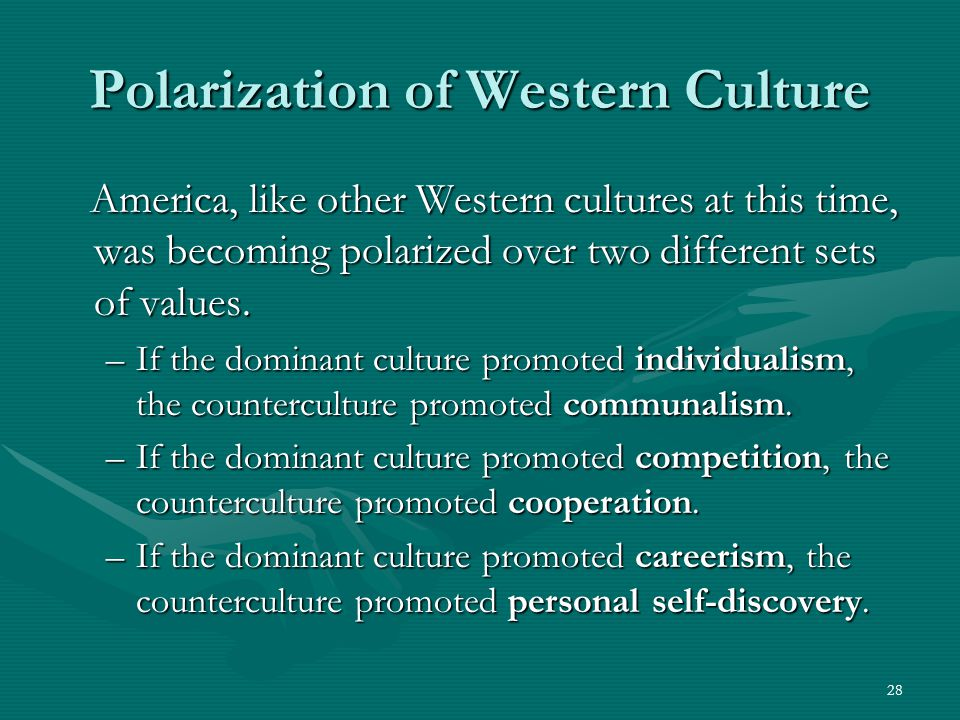 28 Polarization of Western Culture America, like other Western cultures at this time, was becoming polarized over two different sets of values.