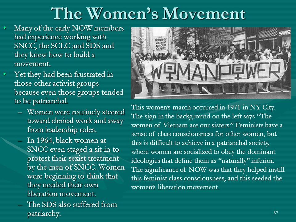 37 The Women's Movement Many of the early NOW members had experience working with SNCC, the SCLC and SDS and they knew how to build a movement.Many of the early NOW members had experience working with SNCC, the SCLC and SDS and they knew how to build a movement.
