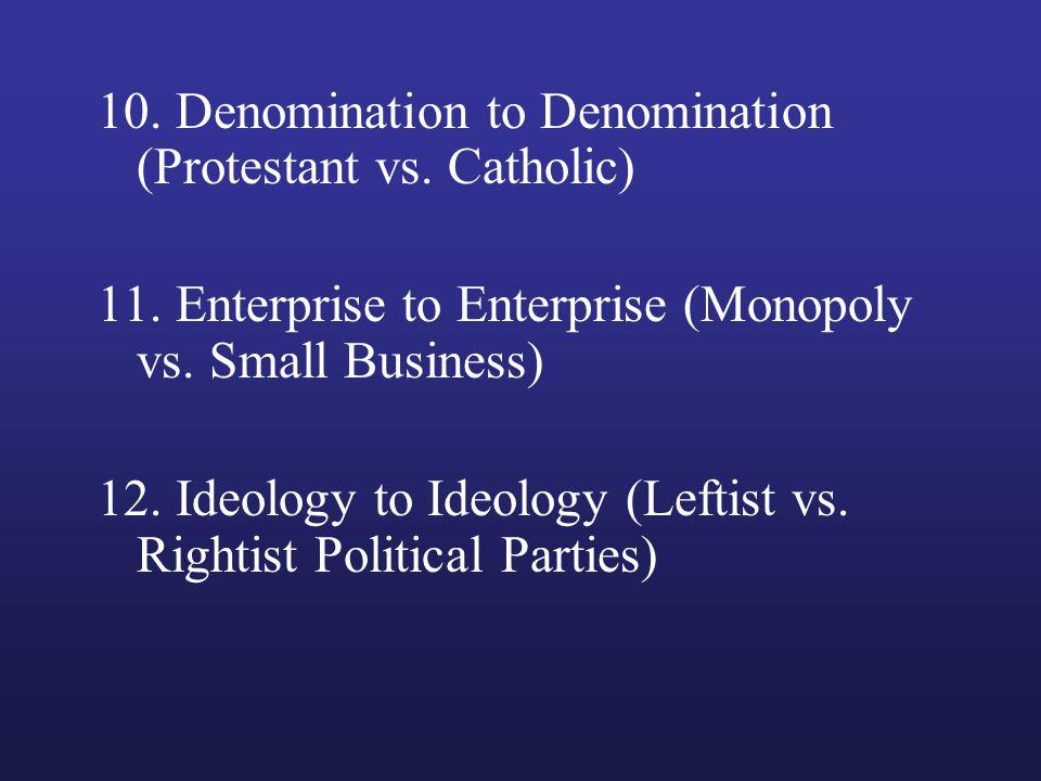 10. Denomination to Denomination (Protestant vs. Catholic) 11. Enterprise to Enterprise (Monopoly vs. Small Business) 12. Ideology to Ideology (Leftis