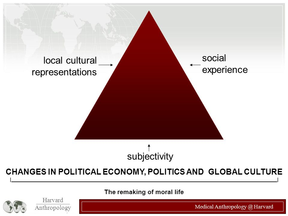 Harvard Anthropology Medical Anthropology @ Harvard CHANGES IN POLITICAL ECONOMY, POLITICS AND GLOBAL CULTURE |_______________________________________