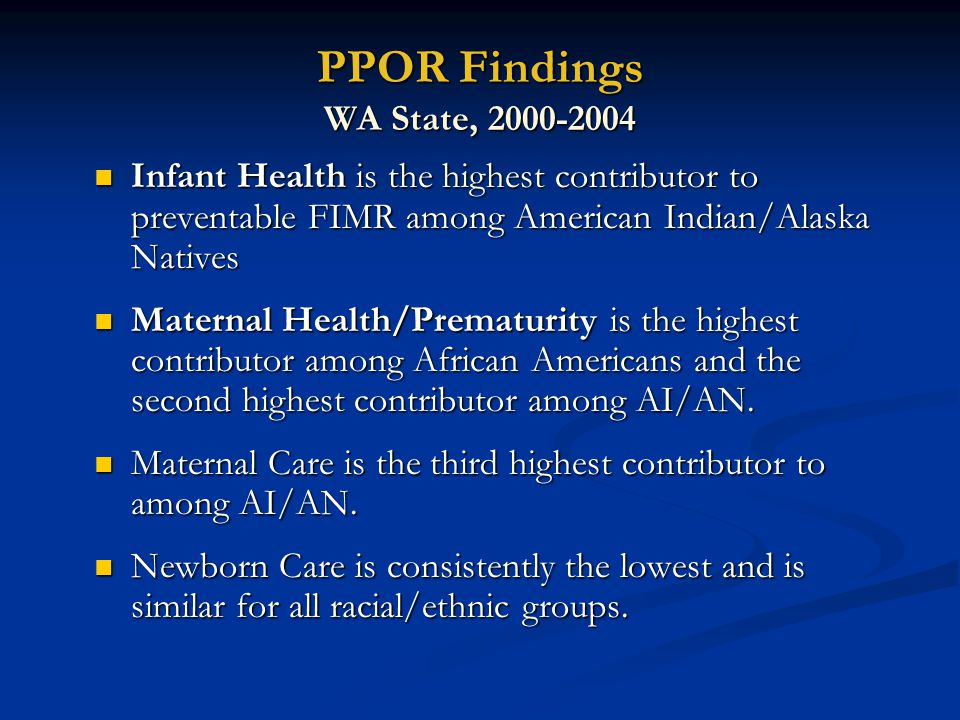 Implications/ Opportunity Gaps Maternal Health/ Prematurity Infant Health Preconception Health Health Behaviors Perinatal Care + EXPAND STRATEGIES to address social factors giving rise to disparities Sleep Position Breast Feeding Injury Prevention Medical Care for Infections and Chronic Conditions