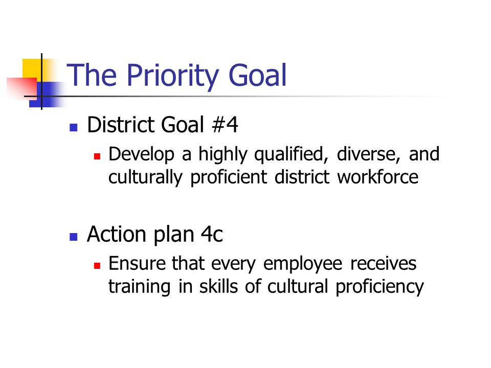 The Priority Goal District Goal #4 Develop a highly qualified, diverse, and culturally proficient district workforce Action plan 4c Ensure that every