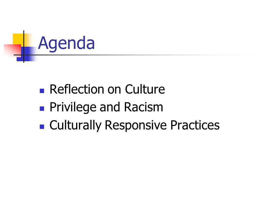 Agenda Reflection on Culture Privilege and Racism Culturally Responsive Practices