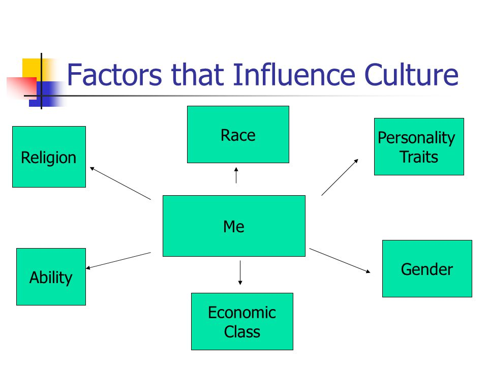 Factors that Influence Culture Me Personality Traits Gender Religion Race Ability Economic Class