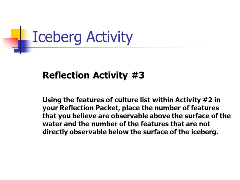 Iceberg Activity Reflection Activity #3 Using the features of culture list within Activity #2 in your Reflection Packet, place the number of features