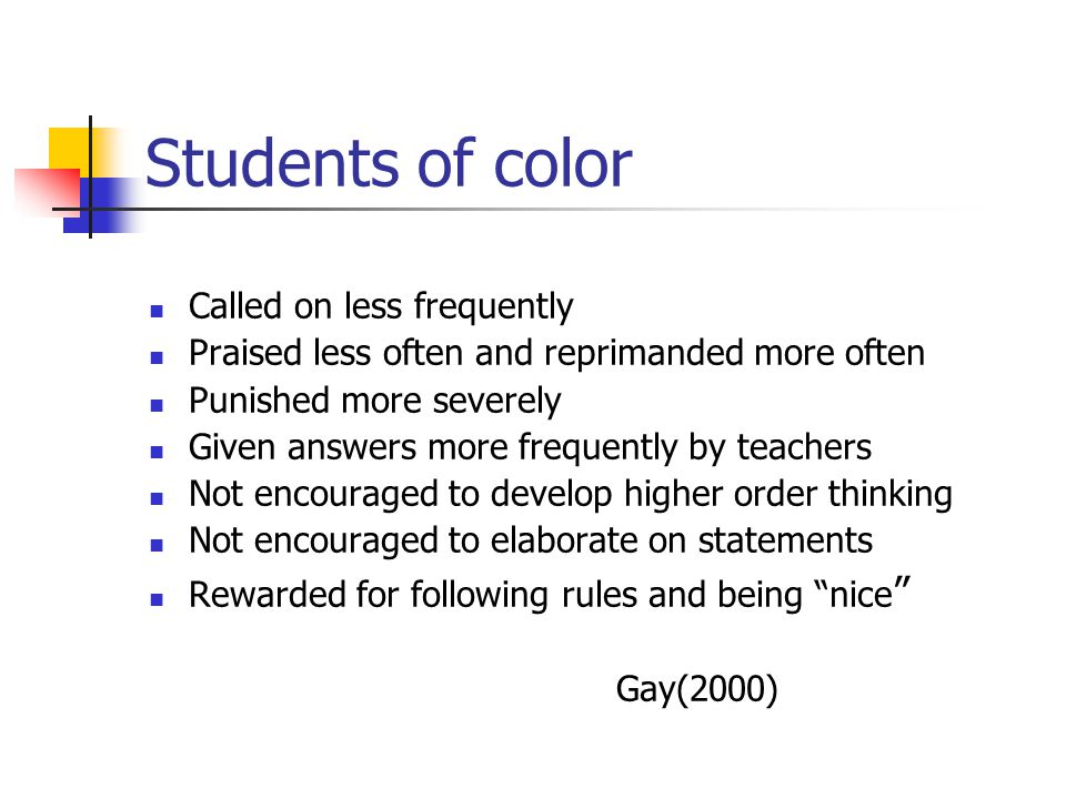 Students of color Called on less frequently Praised less often and reprimanded more often Punished more severely Given answers more frequently by teac