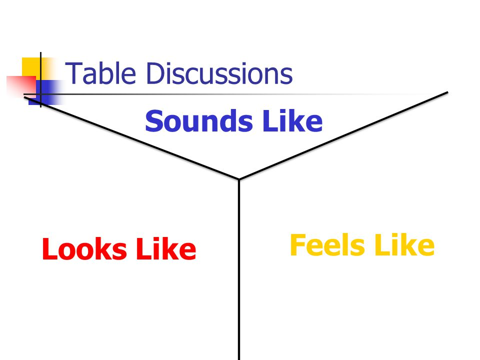 Table Discussions Looks Like Feels Like Sounds Like