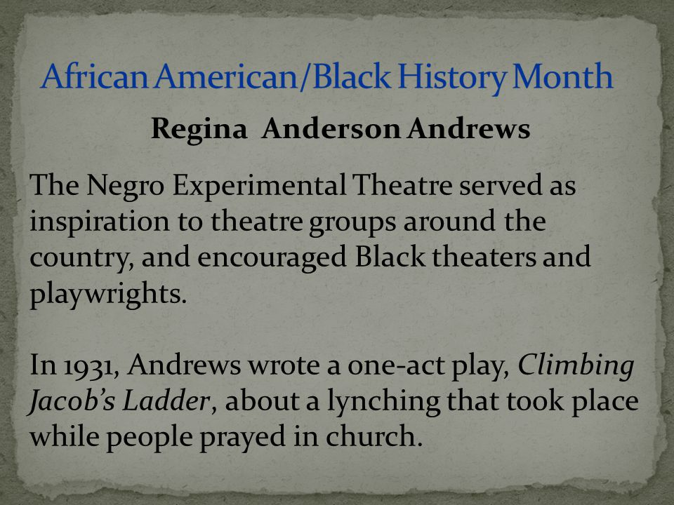The Negro Experimental Theatre served as inspiration to theatre groups around the country, and encouraged Black theaters and playwrights. In 1931, And