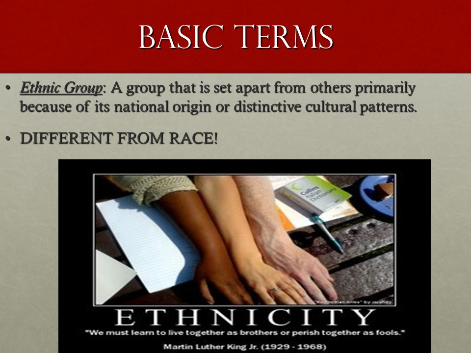 Basic Terms Ethnic Group : A group that is set apart from others primarily because of its national origin or distinctive cultural patterns. Ethnic Gro