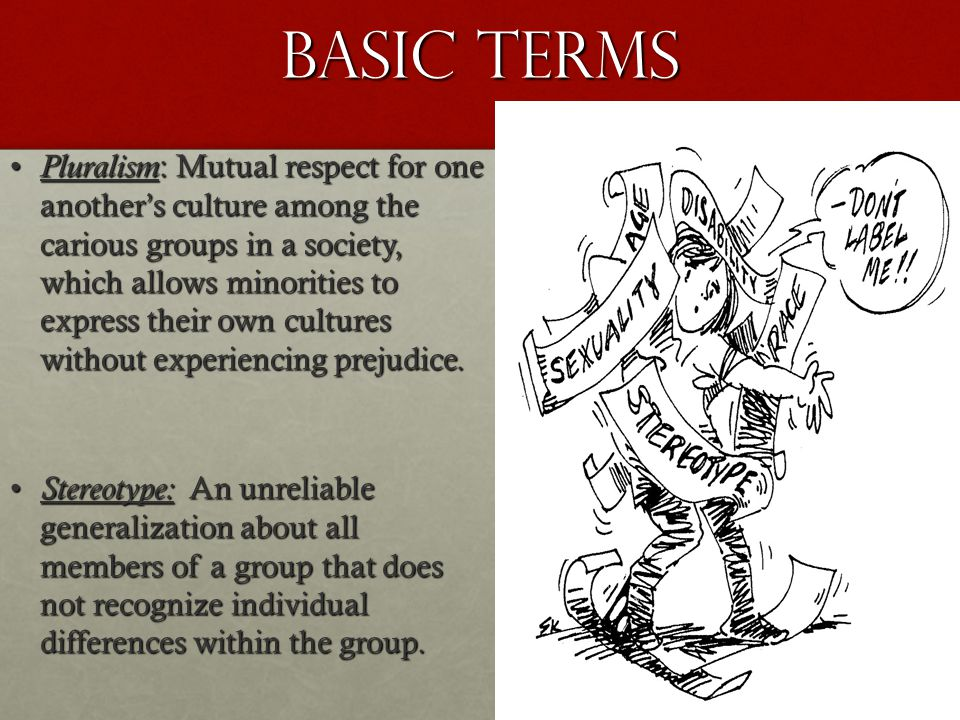 Basic Terms Pluralism : Mutual respect for one another's culture among the carious groups in a society, which allows minorities to express their own c