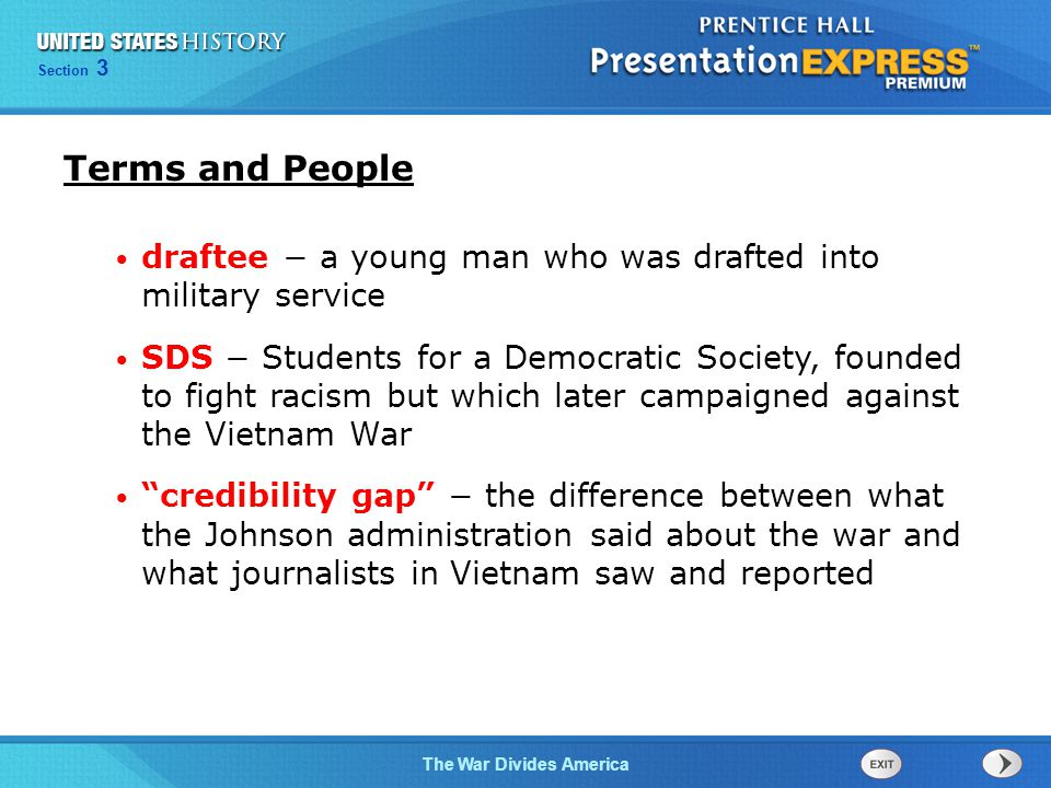 Chapter 25 Section 1 The Cold War Begins Section 3 The War Divides America Describe the divisions within American society over the Vietnam War.