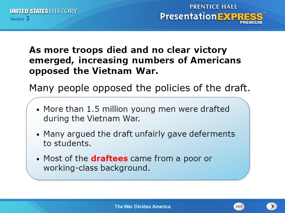 Chapter 25 Section 1 The Cold War Begins Section 3 The War Divides America How did the American war effort in Vietnam lead to rising protests and social divisions back home.