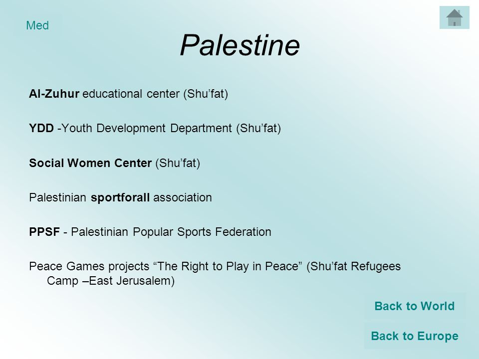 Palestine Al-Zuhur educational center (Shu'fat) YDD -Youth Development Department (Shu'fat) Social Women Center (Shu'fat) Palestinian sportforall association PPSF - Palestinian Popular Sports Federation Peace Games projects The Right to Play in Peace (Shu'fat Refugees Camp –East Jerusalem) Back to World Back to Europe Med