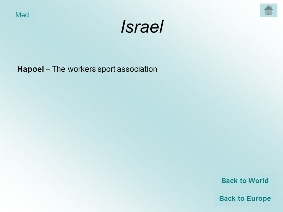 Israel Hapoel – The workers sport association Back to World Back to Europe Med